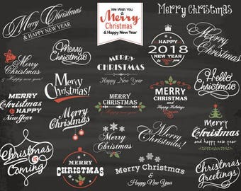 Instant Download Chalkboard Merry Christmas Clip Art Chalkboard Christmas Scrapbook Christmas Digital Photo Overlay Christmas Wording 0360