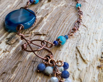 """Copper Chain Multi-stone necklace 26"""" + 2.5"""" drop"""