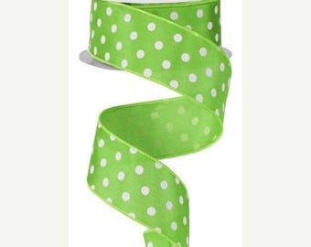 """SALE 1.5"""" x 10yd polka dot, lime green ribbon, lime green wired ribbon, lime green polka dot ribbon, polkadot ribbon, green polka dot ribbon"""