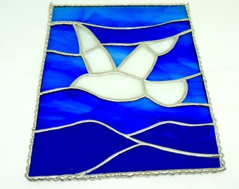 """Stained Glass; Suncatcher; Panel; Seagull Motif; Blue Glass; Approx. 6.5"""" x 8""""; Hand Crafted !!!"""
