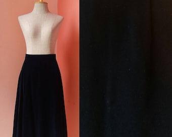 Streetwear Womens Skirts Retro Skirt Hipster Skirt Casual Skirt Boho Skirt Day Skirt Vintage Navy Blue Velvet Midi Skirt Size S Small