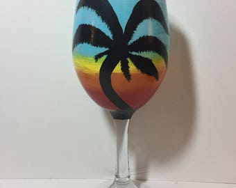 Malibu Palm Tree Wine Glass