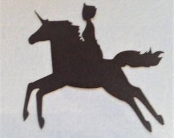 Die Cut Princess on a Unicorn x 5