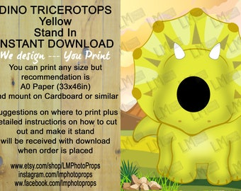 Triceratops, Dinosaur, INSTANT DOWNLOAD, head in hole, face in hole, stand in, stand up, standee, Jurassic, Photo Prop, Photo Booth, Digital