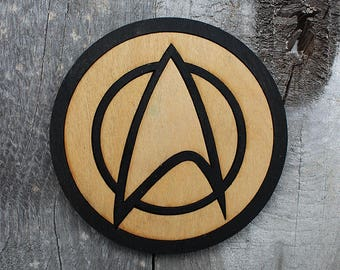 Star Trek Operations Wood Coaster | Rustic/Vintage | Hand Stained and Glued | Comic Book Gift |