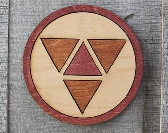 East of West Wood Coaster | Rustic/Vintage | Hand Stained and Glued