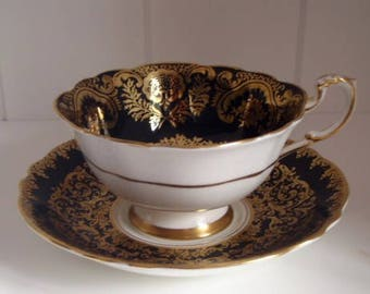 Vintage Paragon Fine Bone China Black and Gold Tea Cup and Saucer Set, Rose Tea Cup, English Tea Cup and Saucer