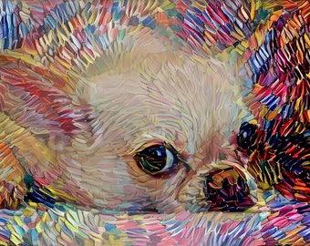 Chihuahua Art, Chihuahua Gift, Colorful Dog Art, Dog Print, Dog Portrait, Colorful Dog, Dog Owner Gift Abstract Dog Art