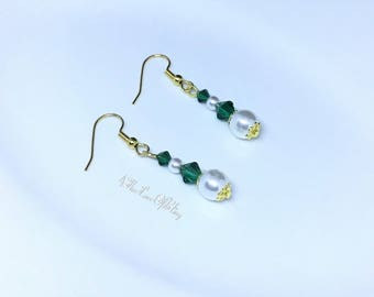 Emerald Green Gold Pearl Drop Earrings made with Swarovski Emerald Crystals & White Pearls | St Patrick's Day Elegance |