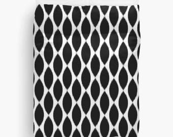 Ikat Duvet Cover, Black and White Bedding, Dorm Decor, Teen Girl Room Decor, Girls Bedding, Duvet Cover Twin, Queen, King, Gift for Her