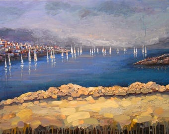 Seascape Sailboats | LARGE ABSTRACT PAINTING | Canvas Painting | Art for bedroom | Original Artwork | Acrylic Painting | Modern Art