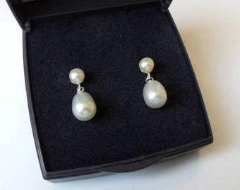 Sterling Silver White Freshwater Pearl Drop Earrings.