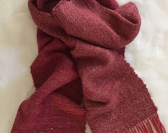 Handspun Handwoven Red Merino Wool and Silk Scarf for Men and Women