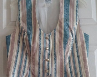 "Vintage ""Hobby Horse"" Blue, Ivory & Gold Metallic Striped Show Vest Size Medium"