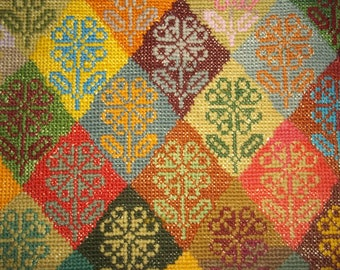 Large Needlepoint of Flowers in Diamond Shapes  -  Beautiful Colors