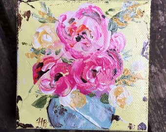 Floral painting, floral art, original art, rustic decor, flower painting