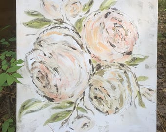 Floral Painting, Pink Roses, Farmhouse Floral, Floral Abstract, Floral Art, Artist Prints