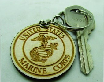 Key Chain, Marine, US Armed Forces, Military, wood Keyring, Keychain, Marines  Made to Order.