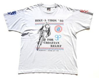 1993 Croatian bike a thon for relief fruit of the loom best single stitch 50 50 t shirt size xl 90s vintage bicycle cyclist tee baby blue