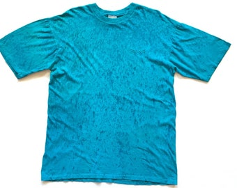 80s REEBOK paint splatter tye dye trippy liquid drip design 90s single stitch t shirt size m