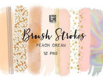 Peach cream. Holographic, gold glitter.  Brush Strokes Clip Art . Pink  peach, nude,  gold collection. Digital Design Resource. Branding.