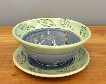 Handmade Small Berry Bowl and Saucer Set. Mishima Leaf Deco. Glazed in Blue and Aqua. MA86