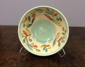 Handmade Cereal Bowl In Vine & Blossom Deco. Glazed in Clear and Aqua. MA115