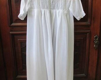 Edwardian Gossamer Sheer Cotton Batiste Infant Robe/Gown/Christening  #17164