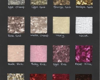 Sequin fabric samples - choose the colors you like