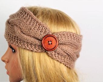 Brown Ear Warmer, Knitting Winter Headband, Knit Crochet Headband, Ear Warmer Turban ,Women Headband, Winter Ear Warmer