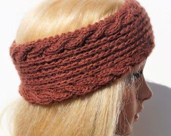 Brown Ear Warmer,Knitting Winter Headband, Knit Crochet Headband, Ear Warmer Turban ,Women Headband, Winter Ear Warmer