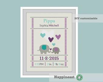 cross stitch baby birth sampler, birth announcement, elephants, baby girl, purple-mint, DIY customizable pattern** instant download**