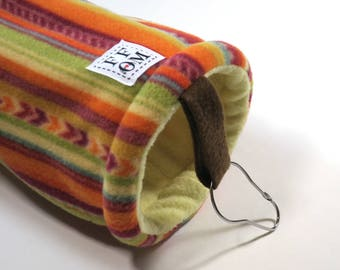 Small pet tunnel or hammock for guinea pigs, sugar gliders or rats - autumn stripe - READY TO SHIP