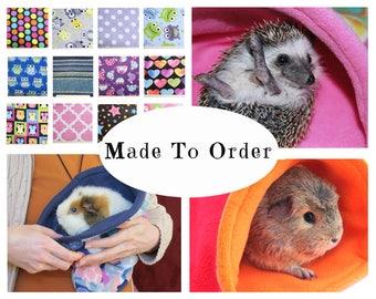 Guinea pig snuggle sack - custom prints - guinea pig accessories - chinchilla - ferret - hedgehog - cozy fleece bag - MADE TO ORDER