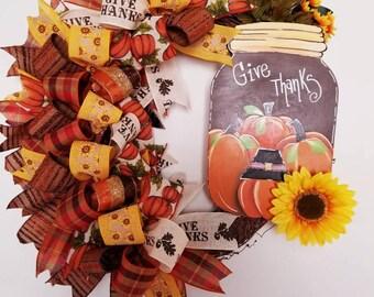 Fall Wreath, Autumn Wreath, Grapevine Wreath, Door Decor, Fall Decor, Fall Grapevine Wreath, Give Thanks Fall Wreath,Autumn Grapevine wreath