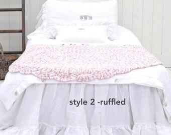 Linen Dust Ruffle - Linen Bed Skirt - Linen Bedding - Ruffled Bedskirt - Ruffle Bedding - Custom - FULL - Shabby Chic - French Linen