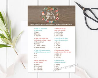 Baby Shower Trivia Game, Trivia Shower Game, Wreath Shower Game, Baby  Trivia Game