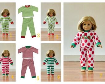 Doll Christmas Pajamas to Match Girls, Chirstmas PJs, matching family pajamas, Christmas pajamas, American girl doll pajamas, mommy and me