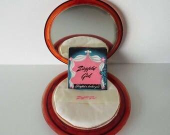 Rare Vintage 1940's Ziegfield Girl Faux Tortoiseshell Plastic Powder Compact War Time Powder Compact Allied Plastic USA Ziegfield Follies