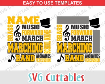 Marching Band SVG, DXF, EPS, Band Subway Art, marching svg, band template, Silhouette file, Cricut cut file, digital download