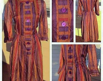 Chic and Stylish Long Sleeved 'Kay Windsor Original' 1940s/50s Striped Silk Dress with Large Purple Buttons!