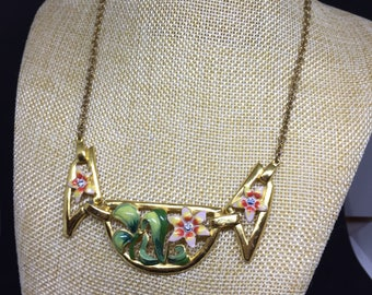 Coro Enamel goldtone front piece necklace
