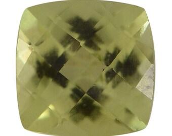 Hebei Peridot Loose Gemstone Checkerboard Cushion Cut 1A Quality 5mm TGW 0.55 cts.