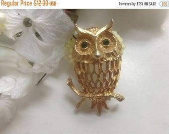 ON SALE Owl on Branch Pin Brooch Green Rhinestones Eyes Wisdom Figural Open Work Gold Tone Woodland Animal