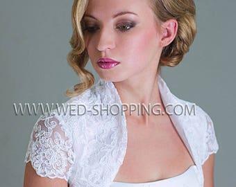 Satin and Lace bolero Wedding Lace Jacket with Satin Lining Short sleeved  for Wedding E1202A Bride bolero lace jacket Ivory White Lace