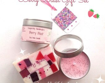 Berry Blast gift set, Berry scented soap, and soy wax candle in a tin, SLS and paraben free, Cruelty free. Handmade with love