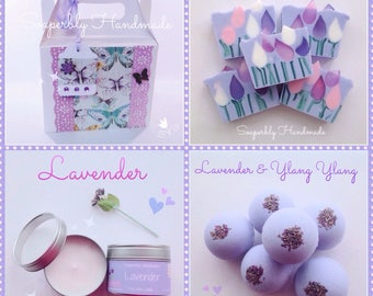 Lavender gift box, Gift set, Soap, Bath Bomb,and Lavender scented candle, handmade with love