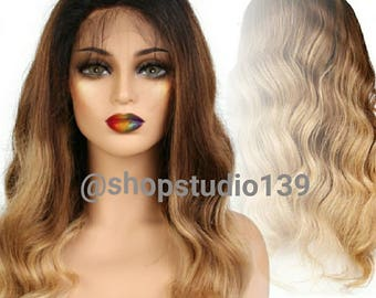 Custom colored  1b/27 human hair lace front wig