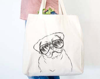 Otis the Pug Canvas Tote Bag - Dog Lover Art, Pug Lover, Pug Art, Pug Owner, Silly Pug Tote, Gifts for Dog Lovers, Pug Lover Gift