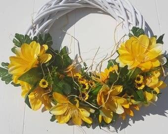 Garland//door hanger//Timeless//yellow flowers//sunflower//Brocante Garland//rural Garland//gift tip mother, grandmother, girlfriend//